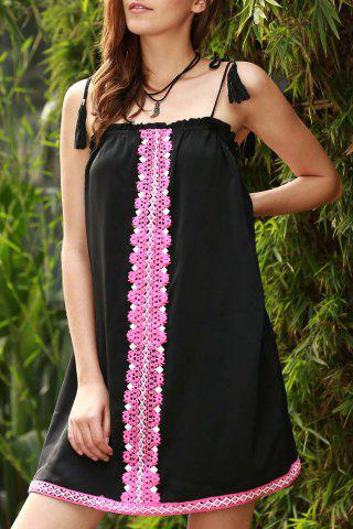 Ethnic Embroidered Cami Dress For Women - Black - Xl