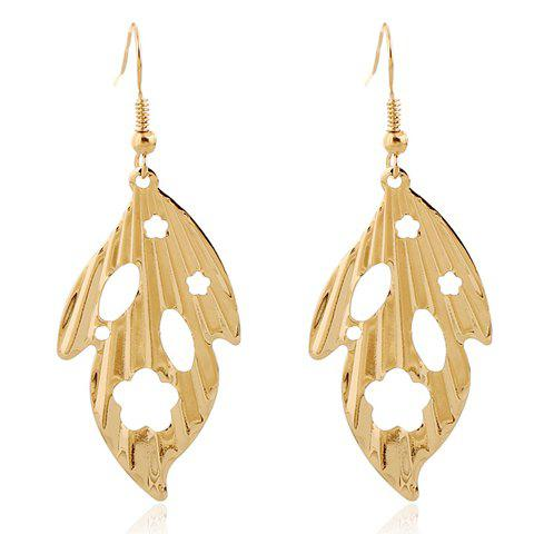 Fashion Pair of Vintage Leaf Hollow Out Earrings