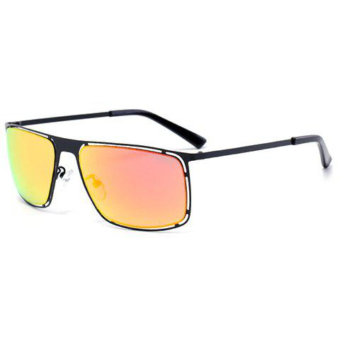 Buy Chic Hollow Out Black Alloy Rectangle Frame Sunglasses For Women - ORANGEPINK  Mobile