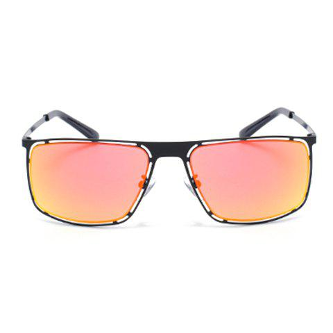 Discount Chic Hollow Out Black Alloy Rectangle Frame Sunglasses For Women ORANGEPINK