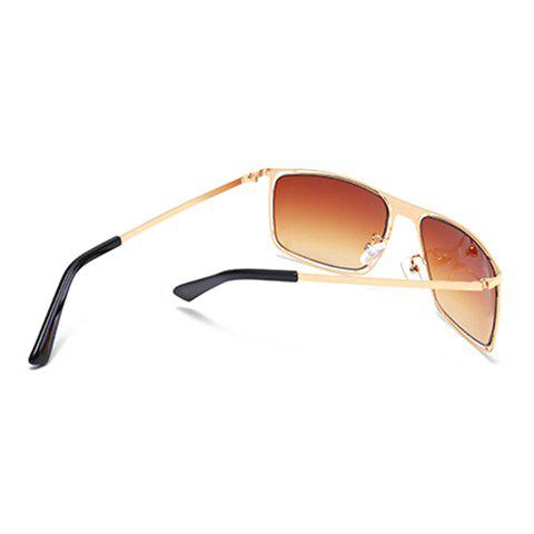 Chic Stylish Hollow Out Golden Alloy Rectangle Frame Sunglasses For Men - TEA-COLORED  Mobile