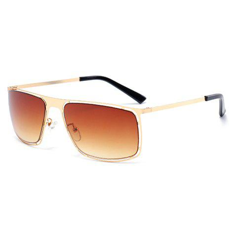 Sale Stylish Hollow Out Golden Alloy Rectangle Frame Sunglasses For Men - TEA-COLORED  Mobile