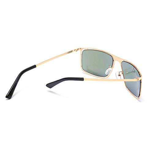 Store Stylish Hollow Out Golden Alloy Rectangle Frame Sunglasses For Men - AZURE  Mobile