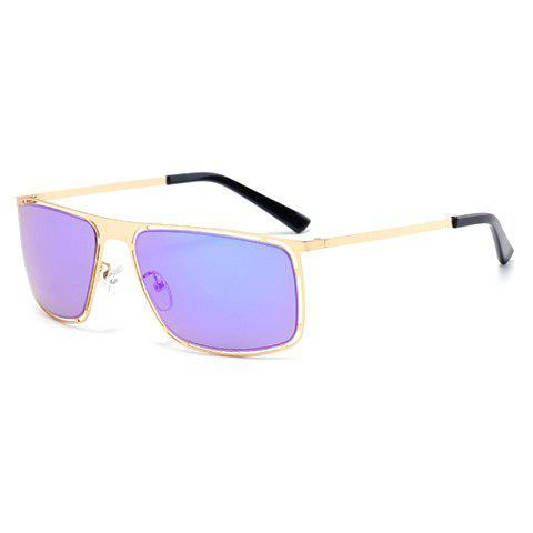 Chic Stylish Hollow Out Golden Alloy Rectangle Frame Sunglasses For Men - AZURE  Mobile