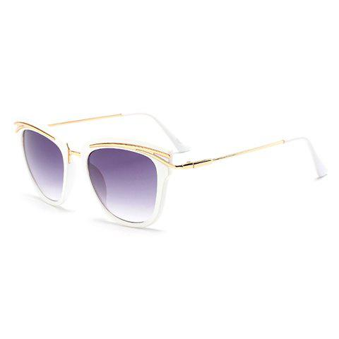 Store Chic Golden Alloy Inlay White Frame Rainbow Color Lenses Sunglasses For Women