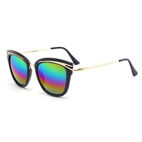 Shop Chic Golden Alloy Inlay Black Frame Rainbow Color Lenses Sunglasses For Women