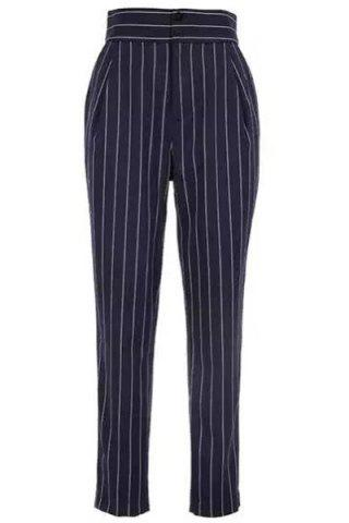 Outfit Brief High Waist Striped Pocket Pencil Pants For Women