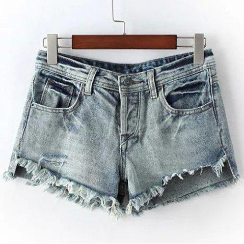 Outfit Chic High Waist Fringed Ripped Denim Shorts For Women