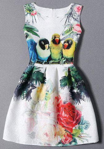 Affordable Sleeveless Birds and Floral Dress WHITE S