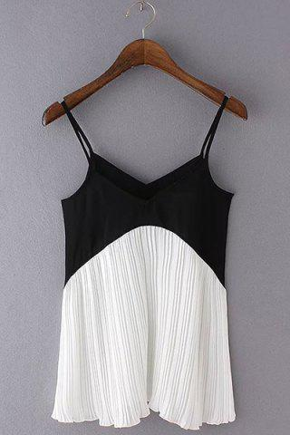 Outfits Fashionable Spaghetti Strap Color Block Pleated Tank Top For Women
