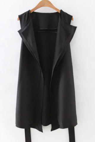 Affordable Stylish Lapel Solid Color Belted Waistcoat For Women