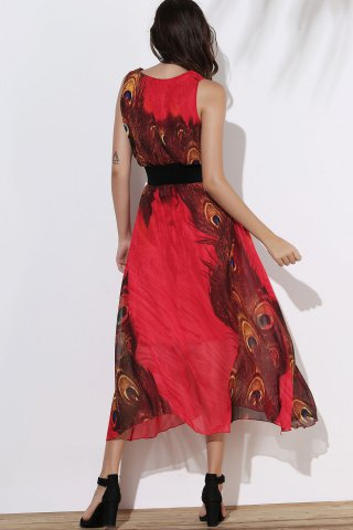 New Fashionable Scoop Neck Peacock Feather Print Sleeveless Dress For Women - XL RED Mobile