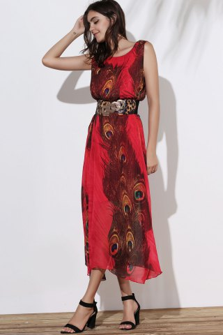 Outfits Fashionable Scoop Neck Peacock Feather Print Sleeveless Dress For Women - XL RED Mobile