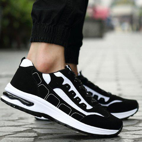 Fancy Trendy Mesh and Color Block Design Athletic Shoes For Men - 44 WHITE Mobile