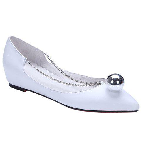 Buy Simple Chain and Metal Design Flat Shoes For Women - 36 WHITE Mobile