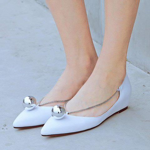 Hot Simple Chain and Metal Design Flat Shoes For Women - 36 WHITE Mobile