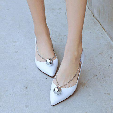 Fashion Simple Chain and Metal Design Flat Shoes For Women - 36 WHITE Mobile