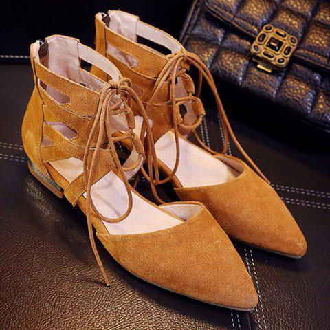 New Openwork Lace Up Flats - 39 EARTHY Mobile