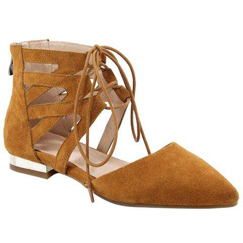 Online Openwork Lace Up Flats EARTHY 39