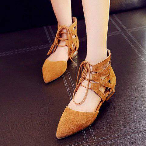 Discount Openwork Lace Up Flats - 39 EARTHY Mobile