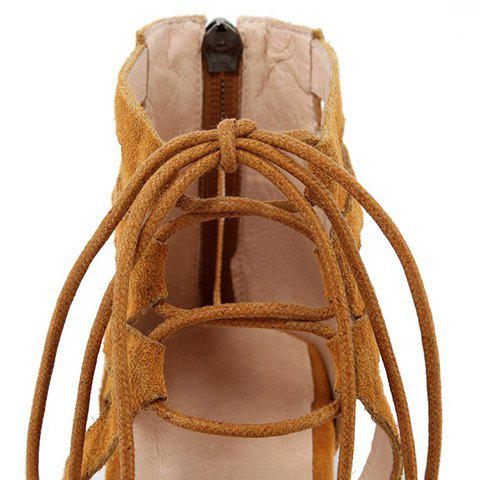 Shop Openwork Lace Up Flats - 39 EARTHY Mobile
