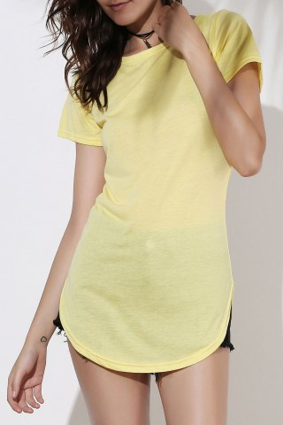 Short Sleeve Solid Color Slit Casual Dress - YELLOW 2XL