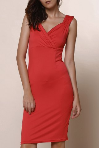 Store Trendy Plunging Neckline Solid Colour Sleeveless Dress For Women WINE RED XL