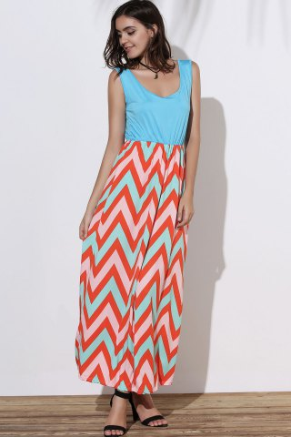 Outfits Scoop Neck Sleeveless Chevron Maxi Sundress - M GREEN Mobile