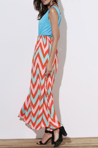 Outfits Scoop Neck Sleeveless Chevron Maxi Sundress GREEN L