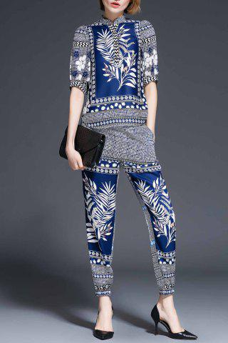 Sale Stand Collar Plant Print Blouse and Pants Twinset