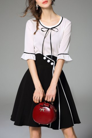 Chic Bell Bottom Sleeve Blouse and Slit Skirt Twinset