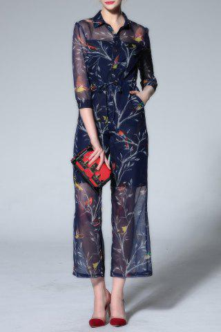 Affordable Shirt Collar Printed Ninth Jumpsuit