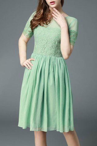 Online Round Collar Lace Spliced Pleated Midi Dress
