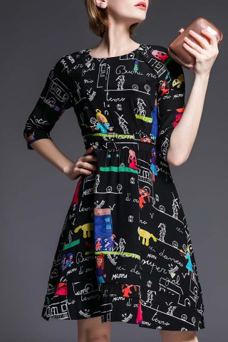 Fancy Round Collar Cartoon Print 3/4 Sleeve Dress
