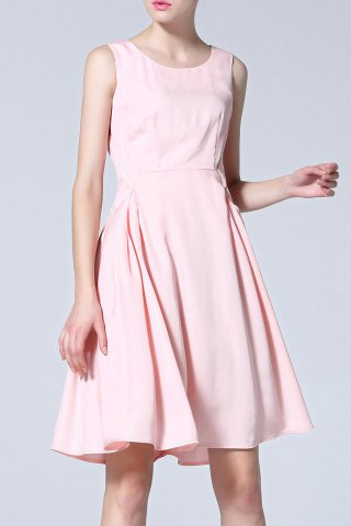 Online Scoop Neck Pleated Solid Color Tank Dress