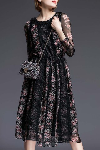 Chic Tiny Floral Print Lace Spliced Dress