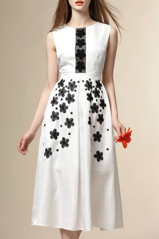 New Round Neck Contrast Embroidery Midi Dress
