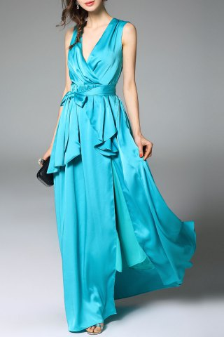 Best Ruffled Split Evening Dress