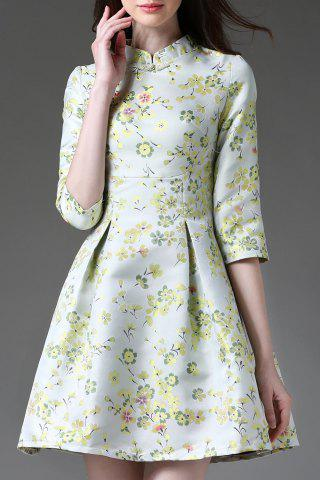 New Stand Collar Floral Print Half Sleeve Ball Dress
