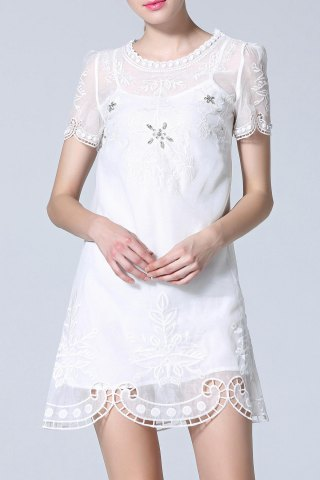 New Beaded Embroidery Hollow Out Dress