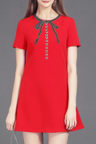 Buy Beaded Bowknot A Line Dress
