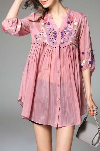 Cheap Lantern Sleeve Embroidered Blouse