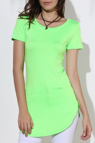 Fancy Side Split Mini Dress with Sleeves GREEN XL