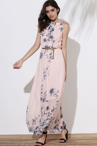 Fashion Floral Long Flowy Semi Maxi Formal Wedding Dress - M PINK Mobile