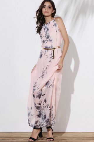 Outfit Floral Long Flowy Semi Maxi Formal Wedding Dress - M PINK Mobile