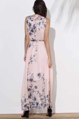 Online Floral Long Flowy Semi Maxi Formal Wedding Dress - M PINK Mobile