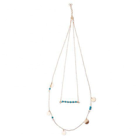 New Trendy Beads Double-Layered Women's Necklace - GOLDEN  Mobile