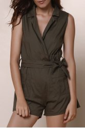 Casual Turn-Down Collar Solid Color Romper For Women - ARMY GREEN