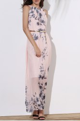 A Line Sleeveless Floral Maxi Prom Dress - PINK