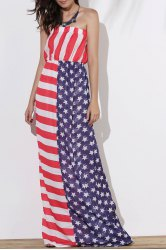 Maxi Patriotic American Flag Strapless Casual Dress - AS THE PICTURE